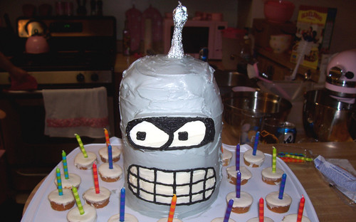 20080807 - Joe's birthday party @ Tabbitha's - (by Tabbitha) - Futurama cake - 2760776463_deb6718465_b