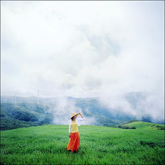 beautiful day #1 (yein~) Tags: portrait green 6x6 tlr film beautiful fog rolleiflex mediumformat square kodak slidefilm squareformat e100vs sook 25faves 40fw aplusphoto