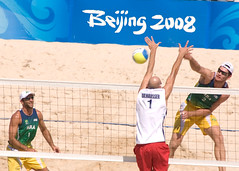 Action from the Brazil vs. USA Gold Medal Beach Volleyball Match at the Beijing 2008 Summer Olympics (Steve Rogers Photography) Tags: china summer brazil usa game men beach unitedstates beijing competition games beachvolleyball volleyball olympic athlete 2008 goldmedal toddrogers marcioaraujo fabiomagalhaes philipdalhausser