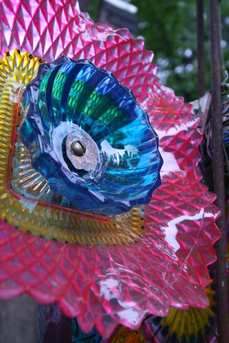 Funky art glass garden sculpture