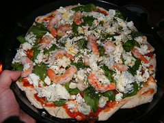 pizza with king prawns