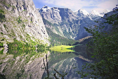 Nationalpark Berchtesgaden - Obersee with Fischunkelalm -- (rotraud_71) Tags: sky snow mountains water clouds forest reflections germany bavaria rocks meadow soe naturesfinest alpinepasture kartpostal nationalparkberchtesgaden mywinners teufelshrner fischunkelalm natureetculture novusvitanewlife oberseeknigssee wilhelmmaria