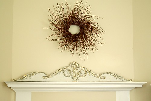 Dining room mantel in fall.