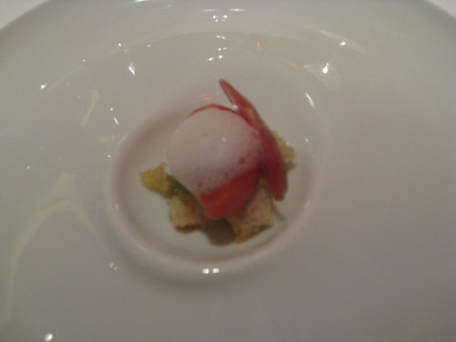 Cinc Sentits - Barcelona: Tomato Ice Compote with Garlic Foam and Sausage