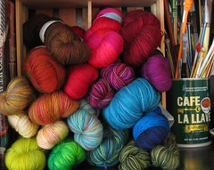 Yarn on the bookshelf