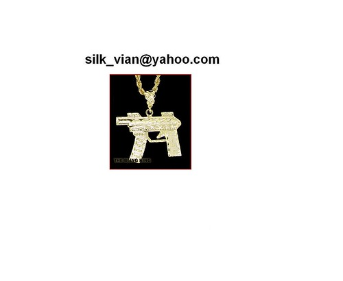 Mens 18k gold filled machine gun pendants hip hop bling