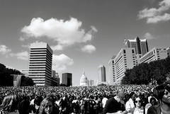 History On An October Day (Antonia Quest Photography/Larry Moore--Thanks) Tags: bw jeffs river office october downtown political rally crowd stlouis missouri gatewayarch