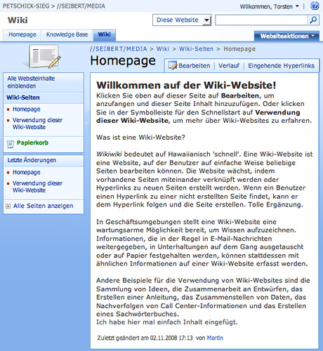 Microsoft SharePoint as a Wiki