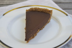 Chocolate Tart with Hazelnut Graham Cracker Crust