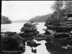 Jerusalem Bay, Cowan Creek (Powerhouse Museum Collection) Tags: wood trees blackandwhite lake mountains nature water forest river landscape outdoors rocks logs riverbank powerhousemuseum reflectiononwater glassplatenegative cowancreek xmlns:dc=httppurlorgdcelements11 jerusalembay dc:identifier=httpwwwpowerhousemuseumcomcollectiondatabaseirn27944 kerryphoto stonecroppings