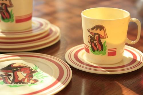 Little plastic mushroom tea set