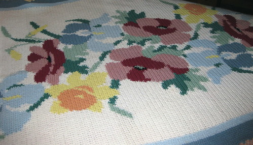 Flower Afghan Throw 006