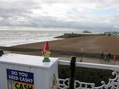 Gnome on the Beach (devopstom) Tags: pier gnome brighton westpier amelie brightonbeach tom1 travellinggnome tom5 slashtom