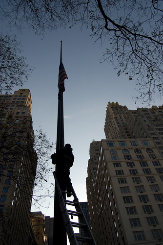 Central Park flag going to half mast