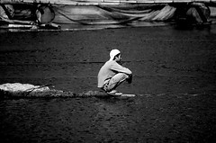 ...alone (Giuliano Santorelli) Tags: bw bali white lake man black indonesia nikon d70 mao