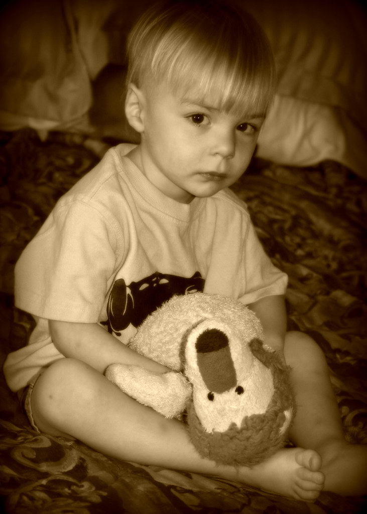 Landon and his lovie - sepia