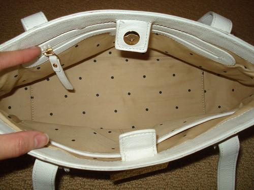 Inside Kate Spade bag