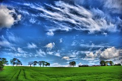 Lush Green Field with Pretty Trees and Dramatic Sky - Tayside Scotland (Magdalen Green Photography) Tags: scotland dramatic scottish impact tayside hdr greenandblue coolblue rurallandscape 5304 strongsky iaingordon magdalengreenphotography lushgreenfieldwithprettytreesanddramaticsky