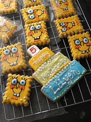 SpongeBob Cookies! (nikkicookiebaker) Tags: cookie spongebob decorated cakecookie