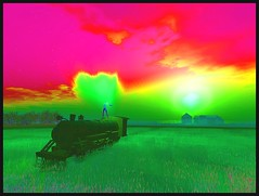 Psychedelic Alles on a Train (Alles Klaar) Tags: colors train colorful colours secondlife colourful psychedelic windlight catchycolorsgreen catchycolorsmagenta therefugeandtheprospect sharingart
