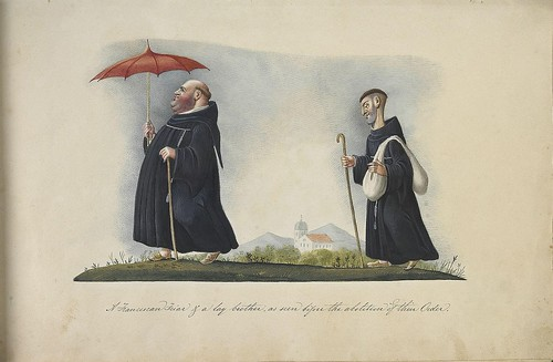 A Franciscan Friar and a clergyman as seen before the abolition of their Order