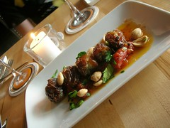 blue cheese-bacon stuffed dates, marcona almonds,warm tomato vinaigrette