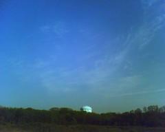 blue silo, blue sky