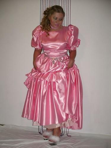 pink beauty shiny dress silk satin laila ballgown