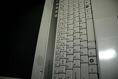 Shiny new white toy (neofob) Tags: detail computer toy laptop athome ubuntu gimped zepto znote6324w