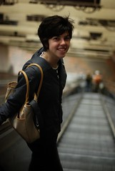 going down, with much less! (elizabethdherman) Tags: haircut laura elevator smiles fromabove mbta porter thet