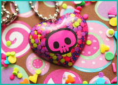 Sweet Skully (stOOpidgErL) Tags: cute love dead skull diy necklace purple candy heart handmade limegreen craft jewelry plastic kawaii resin dots pendant hotpink stoopidgerl cupcakesprinkles