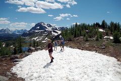 Snowball Fight in July (view836) Tags: mountain canada nature landscape hiking healy banff healypass