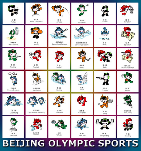 Mascotas de Beijing haciendo deportes