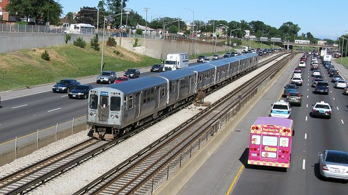 Westbound CTA Blue line train as seen from the Canfield Road overpass bridge. Chicago Illinois. June 2008. by Eddie from Chicago