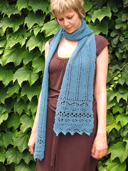 Llama scarf (Skein Sparrow) Tags: blue scarf knitting lace llama interweave americo quviukwebsscarf