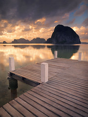 A Corner of Paradise by Michael Anderson (AndersonImages) Tags: world travel sunset sea people mountain reflection beach water digital sunrise religious island michael dock asia locals earth traditional philippines culture hasselblad anderson planet tropical limestone medium format lonely local activity karst cultural elnido traveler michaelanderson h2d bacuit
