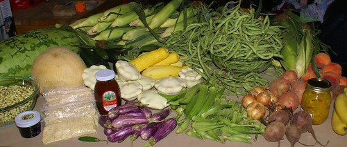 a good haul, mostly from the Cabot farmer's market and the Certified Arkansas Farmer's Market in NLR