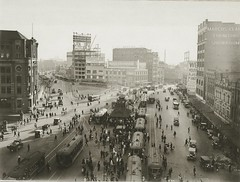 Trams and traffic at Railway Square (State Records NSW) Tags: people blackandwhite streets cars sydney vehicles archives pedestrians newsouthwales trams commuters tramtracks bustling railwaysquare marcusclarke staterecordsnsw