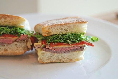 Steak Sandwich with Watercress and Roasted Red Peppers