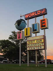 World of Tile (magarell) Tags: sign globe neon nj springfield unioncounty route22