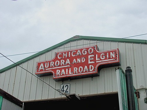 Old neon sign from the former Chicago, Aurora & Elgin interurban railroad. by Eddie from Chicago