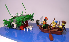 Captain Pete never backed away from a challenge (DARKspawn) Tags: fish monster lego pirates pirate diorama legopirates bignette
