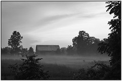 A Black & White version of a sunset (Trostan) Tags: sunset summer mist ontario canada port paul 2008 mcalister trostan ryerse