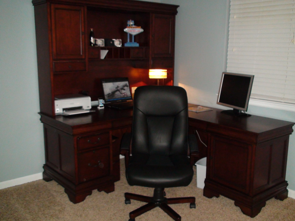 Home Office. Home Office With A Versalies Desk From Golden Oak Furniture ...