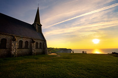 Etretat - France (Aur from Paris) Tags: sunset sea sky sun inspiration france green beach church alone normandie meditation normandy glise manche etretat falaises canoneos5d aur