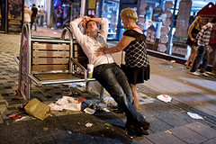 02:11 asleep - Cardiff, UK (Maciej Dakowicz) Tags: city uk woman wales night drunk bench cardiff alcohol rubbish nightlife date asleep queenstreet