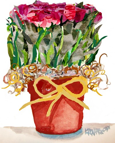 Pot of Dried Roses print 8 x 10