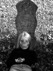 Morbid (Sunset Photography) Tags: portrait blackandwhite bw usa white black fall halloween monument girl grave graveyard minnesota kids photoshop skeleton blackwhite costume bury scary midwest photographer child head cemetary daughter olympus funeral gore morbid gravestone jody scare amateur mn doityourself gorey frightened dyi frighten southernminnesota intrigueing sunsetphotography sp550uz halloweenworldwide canonrebelxsi jodynewman