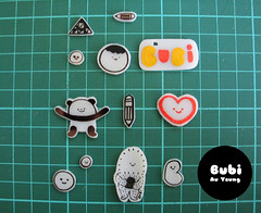Shrink paper result - hard plastic objects (Bubi Au Yeung) Tags: paper fun diy panda heart oven handmade object bubi hard plastic draw shrink keyholder treeson shrinkpaper
