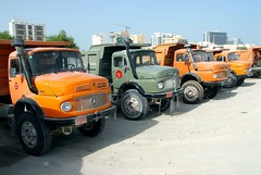 TRUCKING IN QATAR (Claude  BARUTEL) Tags: city port truck buildings mercedes benz construction harbour cranes doha qatar